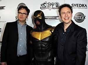 Phoenix Jones with Rainn Wilson and James Gunn